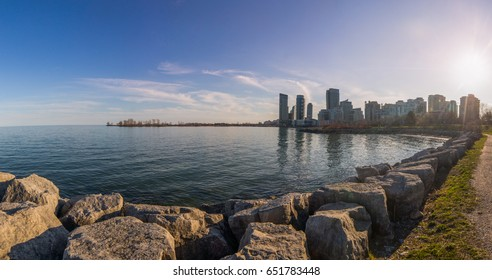 from toronto to etobicoke panoramic, a view on the lake ontario, canada travel