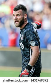 Toronto FC goalkeeper Quentin Westberg (16)during a MLS match a between Toronto FC and FC Dallas June 22, 2019, at Toyota Stadium, Frisco, Texas. FC Dallas defeated Toronto 3-0.