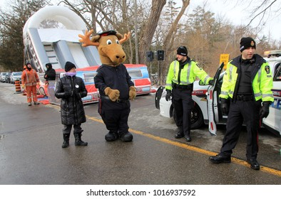 TORONTO – FEBRUARY 03, 2018: Police at Winter festival in Richmond Hill in February 03, 2018 in Great Toronto, Canada