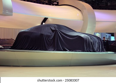 TORONTO, FEBRUARY 11: the new Hyundai Genesis coupe waiting to be unveiled at the Canadian International AutoShow 2009.  There were 11 Canadian car premieres at CIAS2009