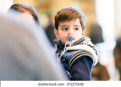 Toronto February 4, 2016 - Syrian refugees arrive at Toronto's Lester B. Pearson International Airport, greeted by sponsor families and organizations.