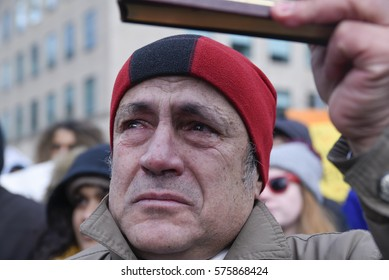 TORONTO - FEBRUARY 4: A Muslim man crying after hearing the names of the victims of the Quebec mosque attack during a rally in front of the US Consulate on February  4, 2017 in Toronto, Canada.