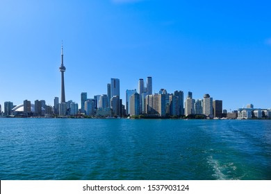Toronto financial district skyline view from Ontario Lake