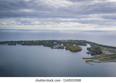 Toronto Islands in autumn view from height