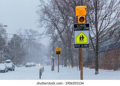 Toronto, Jan 26 2021 - Neighborhood  Public School -Safety Zone - Speed Warning Indicators