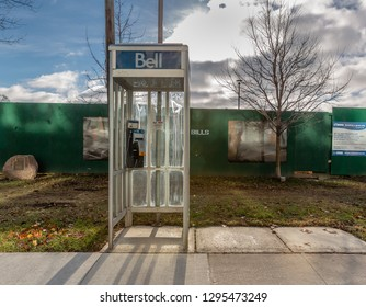Toronto,  January 01, 2019 - Bell Canada Phone Booth (Box), the Last of What Was Once a Row of Three Booths (Boxes).
