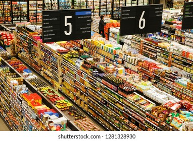 TORONTO - JANUARY 03, 2019: Supermarket interior view, Grocery store in Toronto, Canada on January 3, 2019