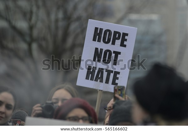 "TORONTO - JANUARY 21: Protestors spreading message of ""hope"" and not ""fear""during the ""Women's March on Washington"" to protest against Trump presidency on January 21, 2017 in Toronto, Canada."
