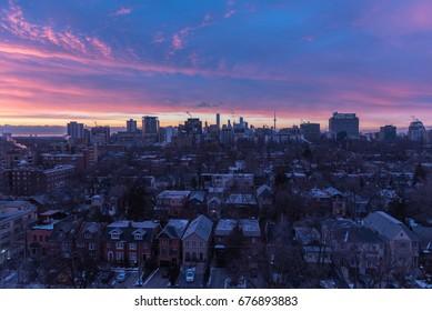 TORONTO - January 24, 2016: Toronto cityscape panorama  on sunset, Ontario, Canada