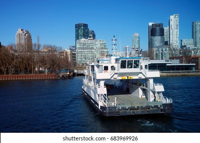 Toronto - January 5, 2016:  Island Airport Ferry, which is the shortest scheduled ferry line, at Toronto City, Canada.