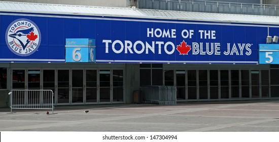 TORONTO - JUL 2: Entrance to the Rogers Centre stadium. Home of the Toronto Blue Jays baseball team. Taken July 2, 2013  in Toronto, Ontario, Canada.