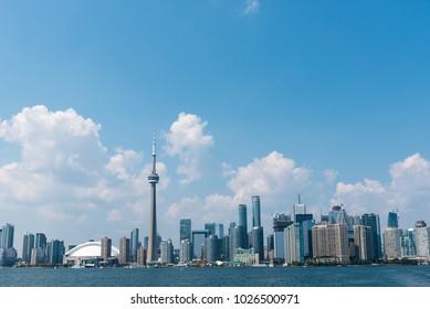 TORONTO - July 17, 2015: Toronto cityscape from Lake Ontario, Canada