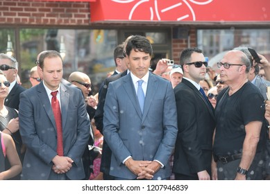 TORONTO - JULY 30 :Prime Minister Justin Trudeau paying tribute to the victims of Danforth mass shooting which killed two people -in Toronto, Canada on July 30, 2015 in Toronto, Canada.