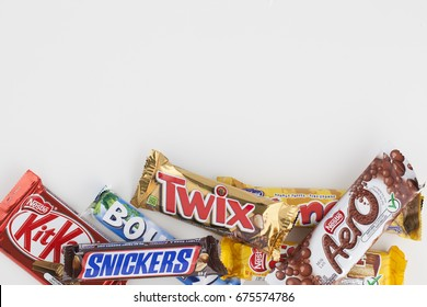 TORONTO - JUNE 03, 2017: Various chocolate bars isolated on white background