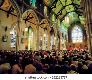 TORONTO - JUNE 17, 2002: St. Michael's Cathedral was built in Gothic style in 1848. Architect W. Thomas was inspired by the 14th century Gothic Yorkminster in England.