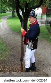 TORONTO – JUNE 17, 2017: The soldier at the battle of Black Creek revolutionary war re-enactment in Black Creek Pioneer village in June 17, 2017 in Toronto, Canada.