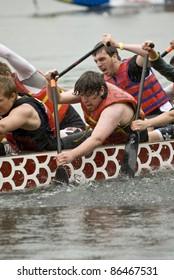 TORONTO - JUNE 20: Sir Oliver Mowet High School Dragon Boat racing at the21st TELUS Toronto International Dragon Boat Racing Festival at Toronto Island June 20, 2009 at Toronto Island, Toronto, Canada