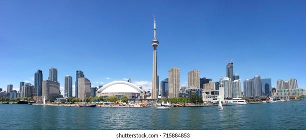 TORONTO - June 22, 2014:  Toronto cityscape panorama from Lake Ontario. Ontario, Canada