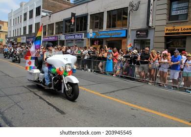 TORONTO - JUNE 29: Bikers at World Pride Parade in June 29, 2014 in Toronto, Canada.