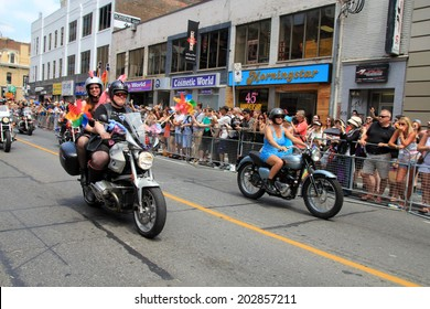 TORONTO - JUNE 29: Motorcyclists at World Pride Parade in June 29, 2014 in Toronto, Canada.