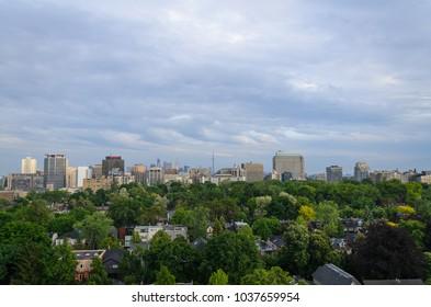 TORONTO - June 8, 2014:  Toronto cityscape panorama in summer time. Ontario, Canada
