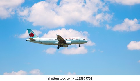 TORONTO - JUNE28, 2018. Air Canada Boeing 767-375  in the sky on June 28, 2018. Air Canada is the flag carrier and largest airline of Canada.