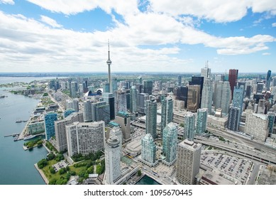 Toronto Lakeshore as seen from a helicopter. Photograph taken of May 2nd, 2018 in Toronto, Ontario, Canada.