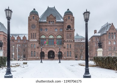 Toronto,  March 1, 2016 - Exterior of the Ontario Legislature Building. Winter, Snow On The Ground.
