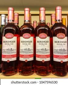 TORONTO - MARCH 11, 2018: Bottles of Berlinger White Zinfandel on a retail liquor store shelf. A popular California wine.