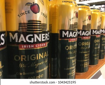 TORONTO- MARCH 11, 2018: Cans of Magners Original Cider. An Irish alcoholic beverage made from apples.
