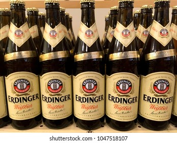 TORONTO - MARCH 11, 2018: Erdinger Weisbier, a popular German wheat beer. In bottles on display in a retail liquor store.