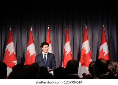 TORONTO - MARCH 7 :Prime Minister Justin Trudeau speaking during a fund raising event organized by the Liberal Party of Canada on March 7, 2018 in Toronto, Canada.