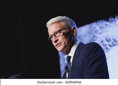 Toronto, May 15, 2016 - CNN journalist and om-air personality, Anderson Cooper speaking in Toronto at the Einstein Gala.