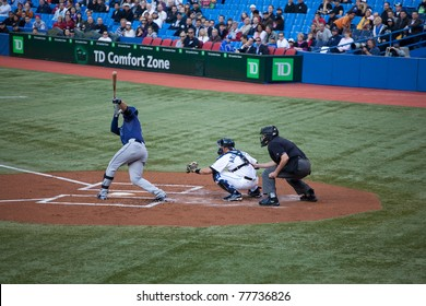 TORONTO - MAY 19: Tampa Bay Rays' player Evan Longoria at bat in a MLB game against the Toronto Blue Jays at Rogers Centre on May 19, 2011 in Toronto. Toronto won 3-2.