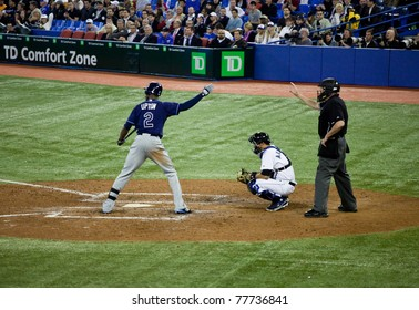 TORONTO - MAY 19: Tampa Bay Rays' player BJ Upton at bat in a MLB game against the Toronto Blue Jays at Rogers Centre on May 19, 2011 in Toronto.  The Blue Jays won 3-2.