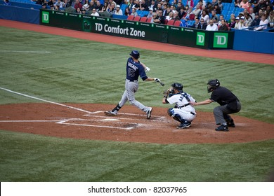 TORONTO - MAY 19: Tampa Bay Rays' player Reid Brignac at bat in a MLB game against the Toronto Blue Jays at Rogers Centre on May 19, 2011 in Toronto.  The Blue Jays won 3-2