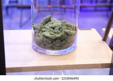 TORONTO - MAY 27: Businesses displaying  cannabis products during the cannabis expo on May 27 2018 in Toronto, Canada.