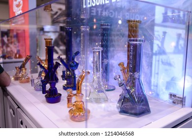 TORONTO - MAY 27: Custom made bongs on display during the cannabis expo on May 27 2018 in Toronto, Canada.
