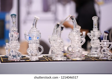 TORONTO - MAY 27: Vendors displaying glass made bong during the cannabis expo on May 27 2018 in Toronto, Canada.