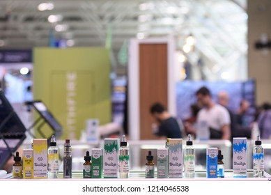 TORONTO - MAY 27: Vendors displaying cannabis oil products during the cannabis expo on May 27 2018 in Toronto, Canada.