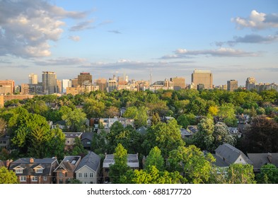 TORONTO - May 30, 2014:  Toronto cityscape panorama in spring  time with green trees. Ontario, Canada