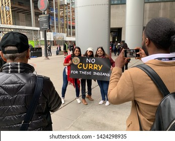 Toronto - May 30, 2019: Basketball fans in Toronto prior to game 1 of the NBA finals express their dislike of Stephen Curry.