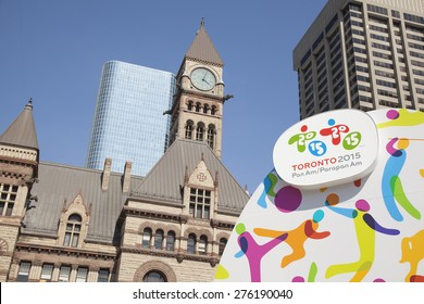 TORONTO - MAY 5, 2015: The sign advertising the 2015 Pan Am/ Parapan Am games located in Nathan Phillips Square, which is to be held in Toronto, Canada.
