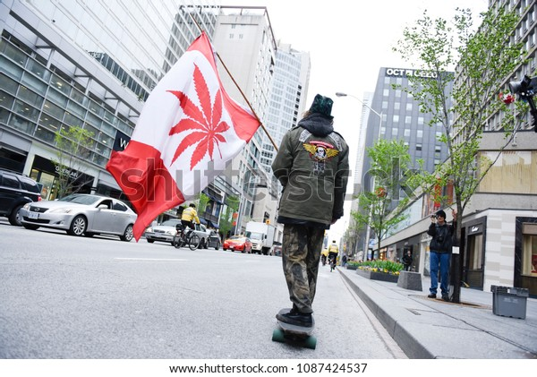 TORONTO - May 6: Supporters carrying Canadian styled flags during the Global Marijuana March 2017 in Toronto on May 6, 2017 in Toronto, Canada.