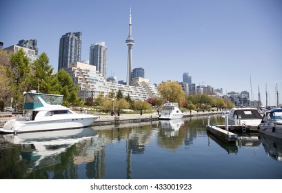 TORONTO - May17, 2016: View of Toronto from Queens Quay in the  Harborfront area.