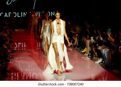 TORONTO : Models walk the runway in the  Caroline Neron runway show for the Spring / Summer 2018 season at Toronto Women's Fashion Week on October 2, 2017 in Toronto, Canada