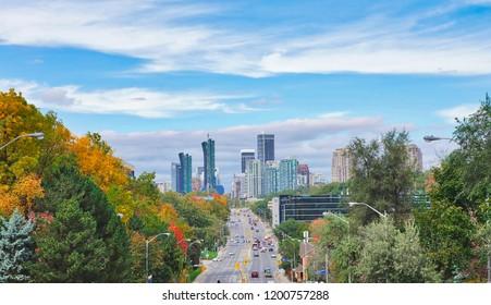 Toronto, North York, Canada-11 October, 2018: Panoramic View of city of North York, a part of Metropolitan Toronto (GTA), a secondary economic hub outside Downtown Toronto