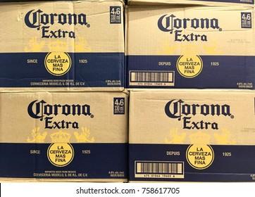 TORONTO - NOV 18, 2017: Cases of Corona Extra beer in stacks.
