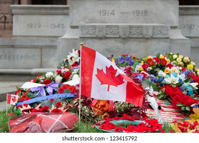 TORONTO - NOVEMBER 11:  Wreaths are laid at Old City Hall Cenotaph after Remembrance Day Services on November 11, 2012.