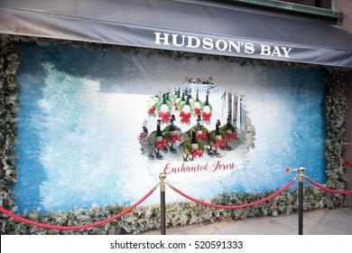TORONTO - NOVEMBER 18, 2016: Christmas window display at Hudson's Bay in Toronto.